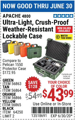 4800 Weatherproof Protective Case - X-Large Green