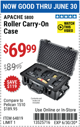 5800 Weatherproof Protective Rolling Carry-On Case - X-Large
