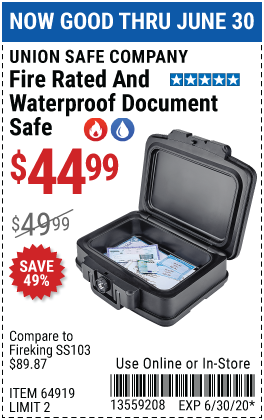 Waterproof and Fire Rated Document Safe