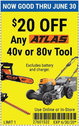 20% off any Atlas Outdoor Power Equipment