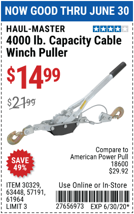 2 Ton Cable Winch Puller