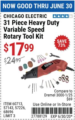 Heavy Duty Variable Speed Rotary Tool Kit, 31 Pc.