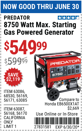 8750 Watt Max Starting Gas Powered Generator - CARB