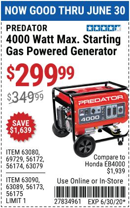 4000 Watt Max Starting Gas Powered Generator - CARB