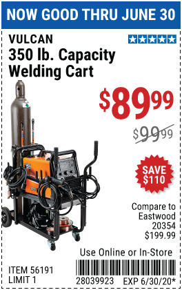 350 lbs.  Capacity Welding Cart