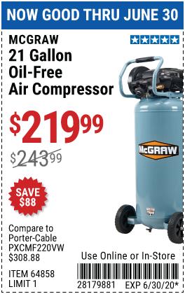 21 gallon 175 PSI Oil-Free Vertical Air Compressor