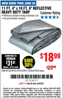11 ft. 4 in. x 18 ft. 6 in. Silver/Heavy Duty Reflective All Purpose/Weather Resistant Tarp
