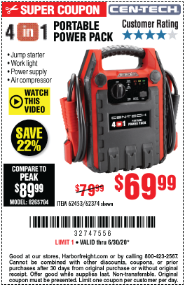 Cen Tech 4 In 1 Portable Power Pack With Jump Starter For 69 99 Harbor Freight Coupons