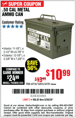 50 Cal Metal Ammo Can For 10 99 Harbor Freight Coupons