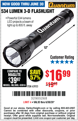 534 Lumen 3 D Flashlight