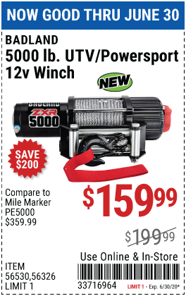 5000 lb. UTV/Powersport 12V Winch