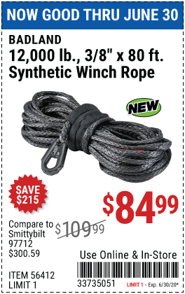 12,000 lb. 80 ft. x 3/8 in.  Synthetic Winch Rope