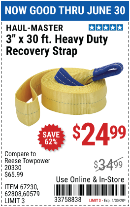 9000 lb. Capacity 3 in. x 30 ft. Heavy Duty Recovery Strap