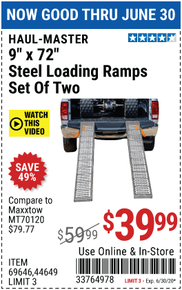 1000 lb. Capacity 9 in. x 72 in. Steel Loading Ramps, Set of Two