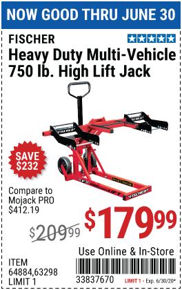 750 lb. Heavy Duty ATV/Mower High Lift Jack