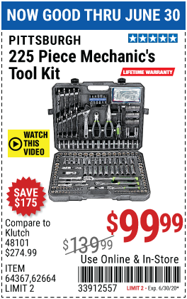 Mechanic's Tool Kit 225 Pc.