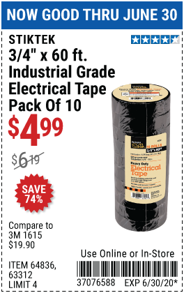 3/4 In x 60 Ft Industrial Grade Electrical Tape, 10 Pk.