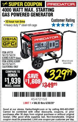4000 Watt Max Starting Gas Powered Generator - EPA III