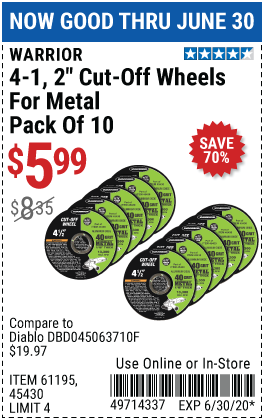 4-1/2 in. 40 Grit Metal Cut-off Wheel 10 Pk.