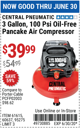 3 gallon 1/3 HP 100 PSI Oil-Free Pancake Air Compressor