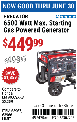 6500 Watt Max Starting Gas Powered Generator - CARB
