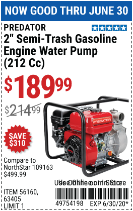 2 in. 212cc Gasoline Engine Semi-Trash Water Pump - 158 GPM