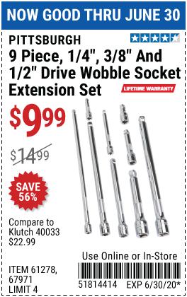 Wobble Socket Extension Set, 9 Pc.