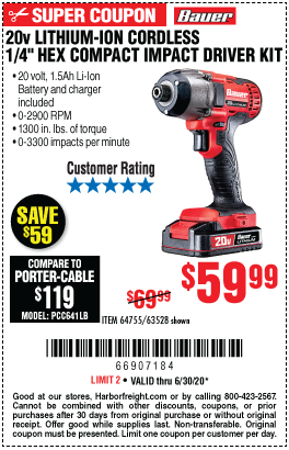 20V Hypermax™ Lithium-Ion Cordless Hex Compact Impact Driver Kit with 1.5 Ah Battery, Rapid Charger, and Bag