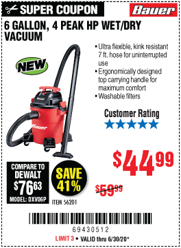 6 gallon 4 Peak Horsepower Wet/Dry Vacuum