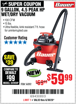 9 Gallon  4.5 Peak Horsepower Wet/Dry Vacuum