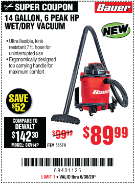 14 Gallon  Wet/Dry Vacuum