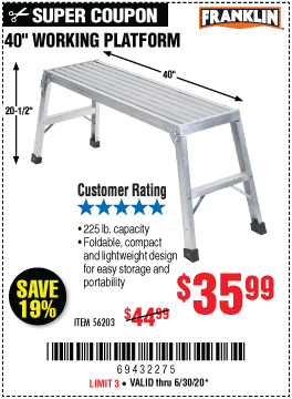 40 In. Lightweight Aluminum Work Platform