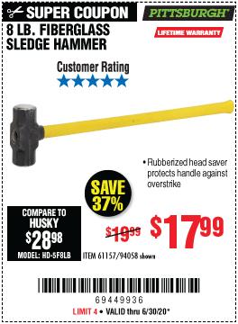 8 lb. Fiberglass Sledge Hammer