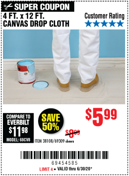 4 x 12  Canvas Drop Cloth