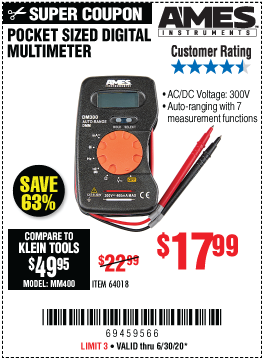 DM300 Pocket Sized Digital Multimeter