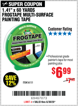 60 Yd. x 1.41 In. FrogTape Multi-Surface Painting Tape