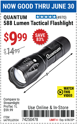 588 Lumen Tactical Flashlight - Black