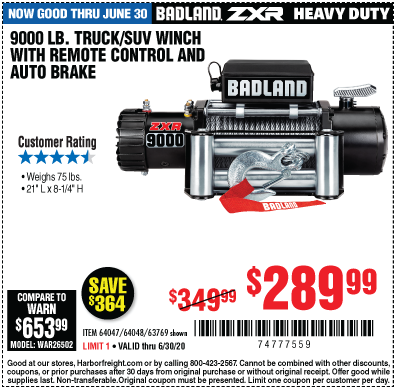 ZXR 9000 lb. Truck/SUV Winch with Remote Control and Automatic Brake