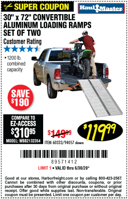 1200 lb. Capacity 30-1/4 in. x 72 in. Convertible Aluminum Loading Ramp