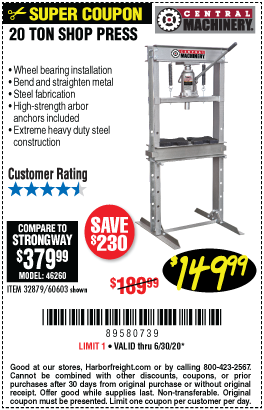 20 Ton H-Frame Industrial Heavy Duty Floor Shop Press