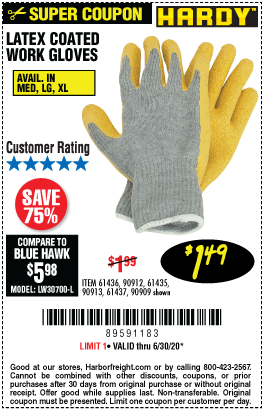 Latex Coated Work Gloves Medium