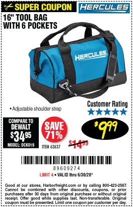 Hercules 16 In Tool Bag With 6 Pockets For 9 99 Harbor Freight Coupons