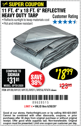 Hft 11 Ft 4 In X 18 Ft 6 In Silver Heavy Duty Reflective All Purpose Weather Resistant Tarp For 18 99 Harbor Freight Coupons