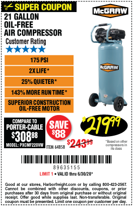 21 gallon 175 PSI Oil-Free Vertical Air Compressor