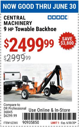 9 HP Towable Backhoe