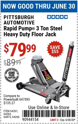 3 ton Heavy Duty Rapid Pump® Floor Jack