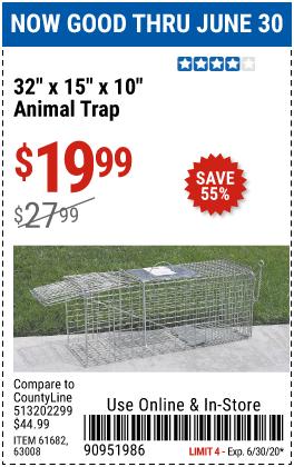 32 in. x 15 in. x 10 in. Medium Animal Trap