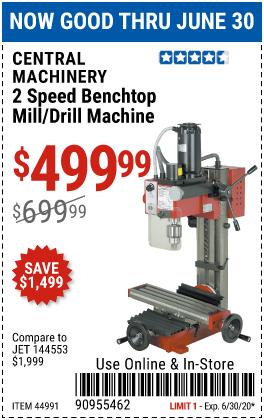 2 Speed Benchtop Mill/Drill Machine