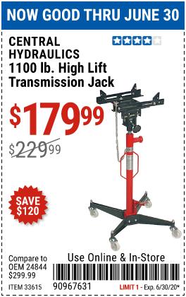 1100 lb. High Lift Transmission Jack