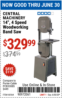14 in. 4 Speed Woodworking Band Saw